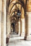 Historical corridor with columns. Colonnade in Vienna City Hall building. Austria Stock Photos