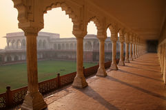 Colonnade walkway leading to Diwan-i- Khas Hall of Private Audi. Ence in Agra Fort, Uttar Pradesh, India. The fort was built primarily as a military structure royalty free stock photos