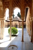 Colonnaded courtyard in the Alhambra in Granada in Spain Royalty Free Stock Photos