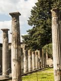 Colonnaded Garden in the once buried Roman city of Pompeii south of Naples under the shadow of Mount Vesuvius Stock Photos