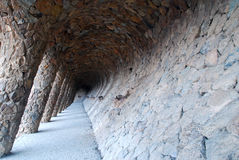 Colonnaded pathway at Gaudi's famous Park Guell. Colonnaded pathway at Antoni Gaudi's famous Park Guell in Barcelona Royalty Free Stock Photos