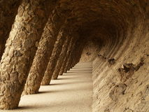 Colonnaded pathway in Park Güell, Barcelona Royalty Free Stock Photo