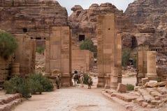 Colonnaded straat Petra, Jordanië Royalty-vrije Stock Afbeelding