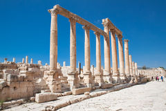 Colonnaded Street, Jerash,  Jordan. Royalty Free Stock Image