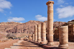 Colonnaded street in Petra, Jordan Stock Images