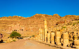 The Colonnaded street and the Royal Tombs at Petra Royalty Free Stock Images