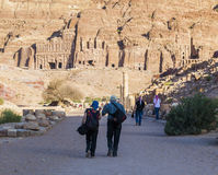 Colonnaded street with urn, silk and royal tombs on background. Petra. Jordan. Stock Photo