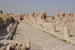 Colonnadedstraat, Amman Citadel Royalty-vrije Stock Afbeelding