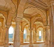 Colonnades in Amber fort, India Stock Photos