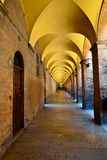 Colonnades and arcades. In the historical center of Urbino Stock Image