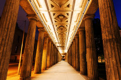 Colonnades at the National Gallery in Berlin, Germany. At night Royalty Free Stock Photo