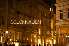 The Colonnades at night in Hamburg Royalty Free Stock Photo