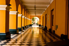 Colonnades in Plaza Mayor (formerly, Plaza de Armas) of Lima, Pe Royalty Free Stock Images