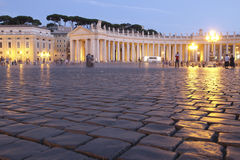 Colonnades of St. Peter s Square, Rome at night Royalty Free Stock Photos