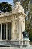 Colonnades and statue in Retiro Park Royalty Free Stock Images