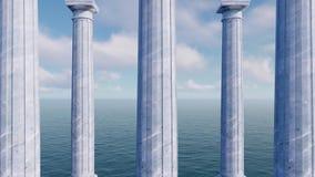 Colonne antiche classiche fra il concetto del mare 3D archivi video