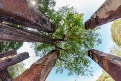 Colonne antiche nel parco storico di Kamphaeng Phet Fotografia Stock Libera da Diritti