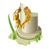 Colonne blanche cassée et guirlande olive d'or illustration de vecteur