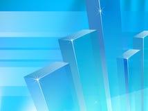 Colonne blu del grafico su fondo blu-chiaro trasparente illustrazione di stock
