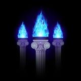 Colonne con fuoco blu Fotografia Stock Libera da Diritti