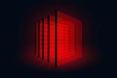 Colonne con i laser Sicurezza della Banca Dati proteggenti contro i ladri di furto Laser nella stanza nera Immagine Stock