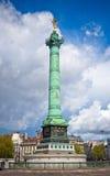 Colonne de Juillet förlägger in de la Bastille i Paris Fotografering för Bildbyråer