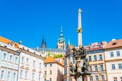 Colonne de la trinité sainte, figures des saints, Prague, représentant tchèque Photos libres de droits