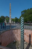 Colonne de serpent et obélisque de Theodosius Photo stock