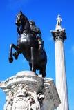 Colonne de statue et du Nelson de Charles I Image stock