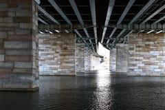 Colonne del ponticello attraverso il fiume Fotografie Stock Libere da Diritti