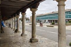 Colonne del quadrato principale di Almagro in Spagna Immagini Stock