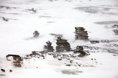Colonne della roccia su Severnaya Zemlya in Artide Fotografie Stock