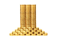 Colonne delle monete da metal2 giallo Fotografia Stock