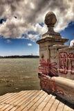 Colonne des étapes de la place de commerce à Lisbonne photos stock