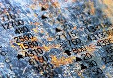 Colonne di numero su struttura della ruggine immagini stock