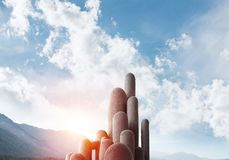 Colonne di pietra multiple con paesaggio strabiliante Fotografia Stock