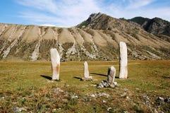 Colonne di pietra su Altai Fotografia Stock