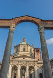 Colonne di San Lorenzo, Milan, Lombardy, Northern Italy. Colonne di San Lorenzo, prominent Roman ruins, located in front of the Basilica of San Lorenzo in Stock Image