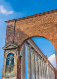 Colonne di San Lorenzo, Milan, Lombardy, Northern Italy. Colonne di San Lorenzo, prominent Roman ruins, located in front of the Basilica of San Lorenzo in Stock Images