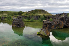 Colonne famose della lava nel lago Myvatn, Islanda Immagine Stock Libera da Diritti