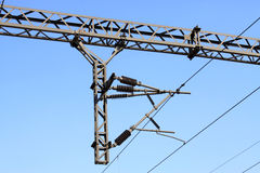 Colonne ferroviaire d'acier de filet de contact d'électrification Photos libres de droits