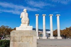 Colonne forte des symboles quatre catalans sur la colline de Montjuic Photos libres de droits