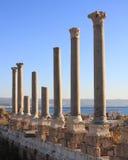 Colonne romane del pneumatico al tramonto (Libano) Fotografia Stock