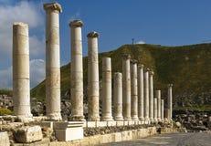 Colonne romane nell'Israele Beit Shean Fotografia Stock Libera da Diritti