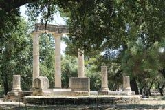 Colonnes dans Olympia, Grèce antique photographie stock