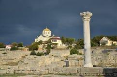 Colonnes de Corinthien de lwith de chaise de Chersonesus Photos libres de droits