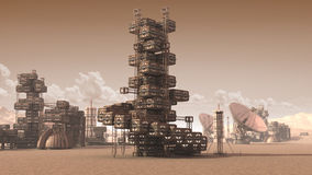 Colony on an arid planet. 3D Illustration of a scientific settlement on an arid red planet with architectural structures, research crates and communication Royalty Free Stock Photos
