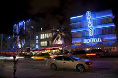Colony Hotel at the Ocean Drive in Miami Beach at night. MIAMI BEACH, USA - August 02: Night view at Ocean drive on August 02,2010 in Miami Beach, Florida. Art Stock Image