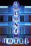 Colony Hotel Sign at night Royalty Free Stock Photos
