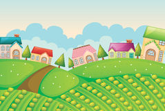Colony of houses in nature. Illustration of a colony of houses in nature Stock Photo